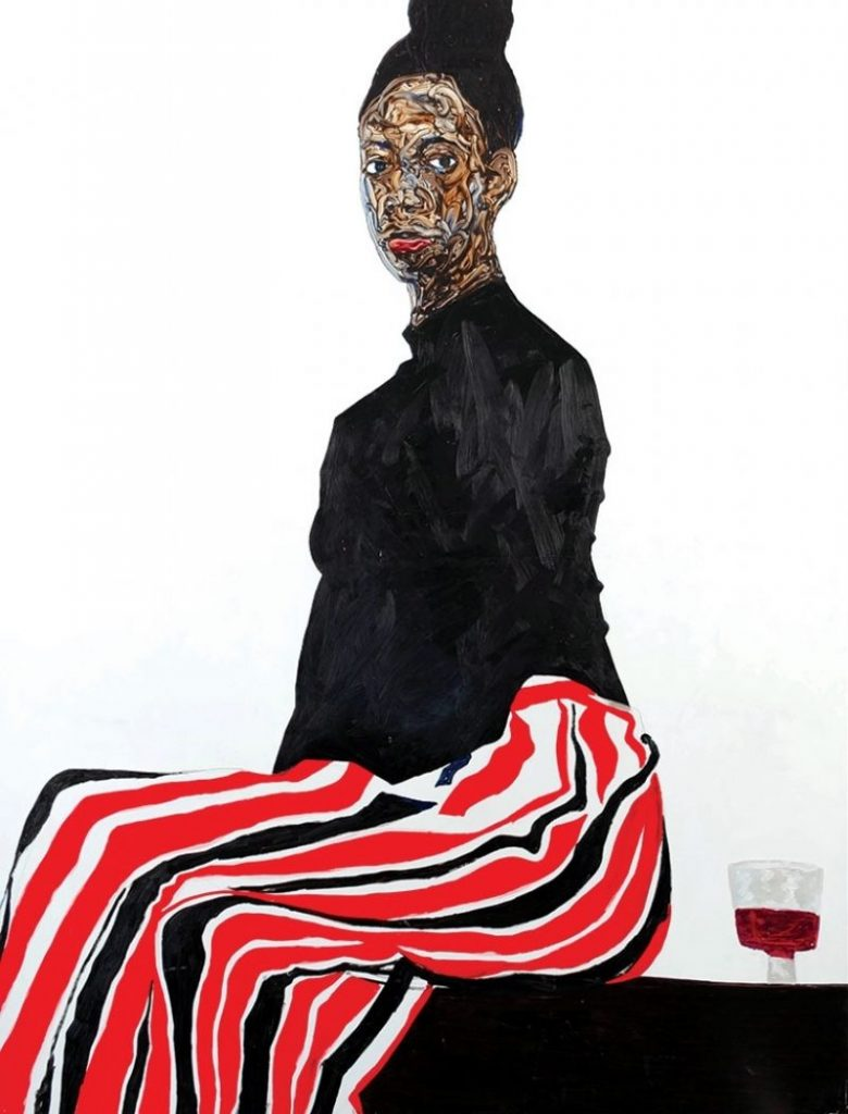 Amoako Boafo, Joy Adenike, 2019, oil on canvas, 82.75 × 67 inches. Courtesy of the artist and Mariane Ibrahim Gallery, Chicago.